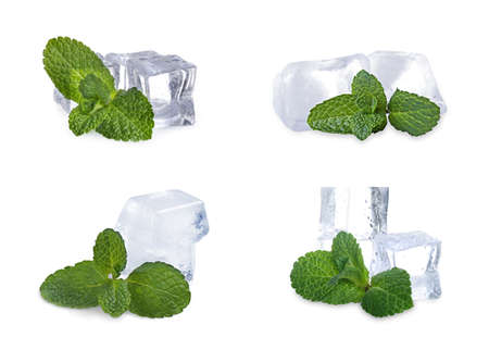 Set of ice cubes and mint on white background