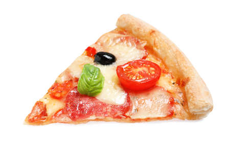 Slice of delicious pizza Diablo isolated on white Banque d'images