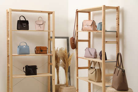Stylish woman's bags on shelves in boutique