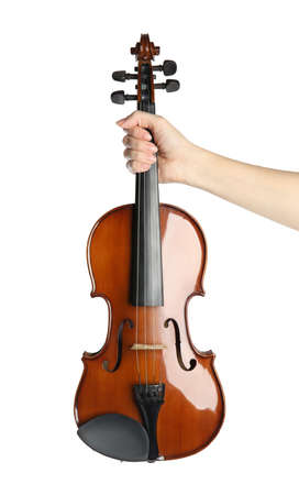Woman with classic violin on white background, closeup Standard-Bild