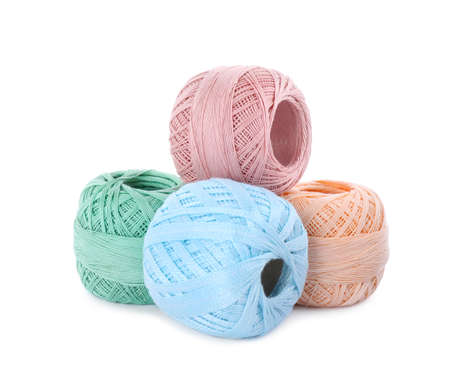 Different ball of yarns isolated on white
