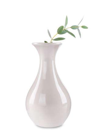White vase with flower isolated on white