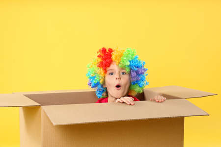 Little boy in clown wig sitting inside of cardboard box on yellow background. April fool's day
