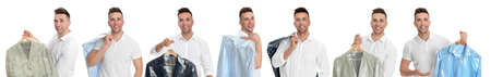 Collage of man holding hanger with clothes on white background. Dry-cleaning service