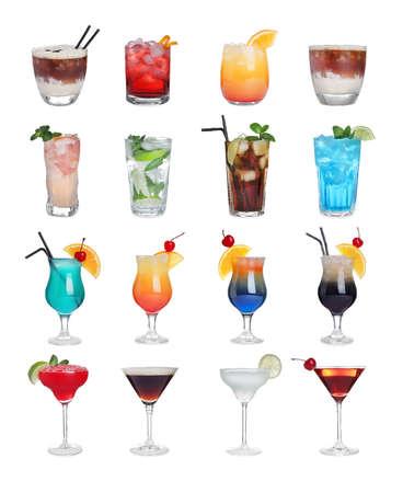 Set of tasty alcoholic cocktails isolated on white Zdjęcie Seryjne