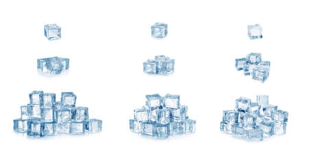 Set of crystal clear ice cubes with water drops on white background 免版税图像