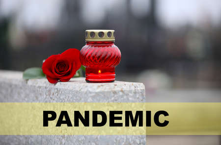 Red rose and candle on light grey granite tombstone outdoors. Outbreak of pandemic disease 스톡 콘텐츠