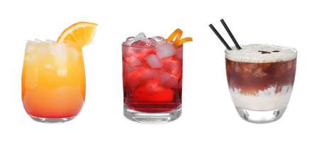 Set of tasty alcoholic cocktails isolated on white