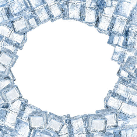 Frame made of crystal clear ice cubes on white background, space for text 免版税图像
