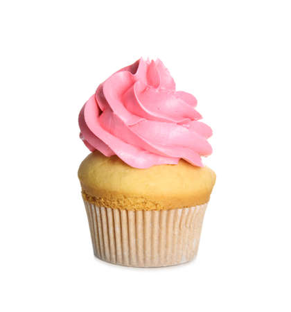 Delicious cupcake decorated with pink cream isolated on white. Birthday treat