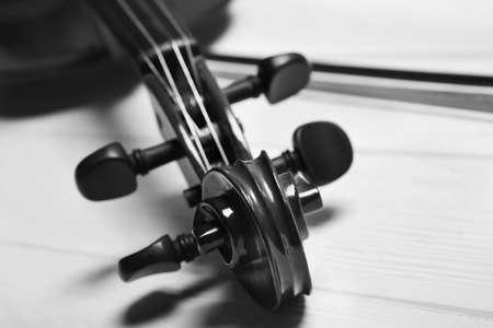 Beautiful classic violin, closeup view. Musical instrument