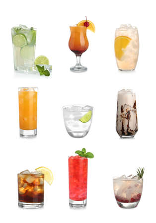 Set of different delicious cocktails with ice cubes on white background