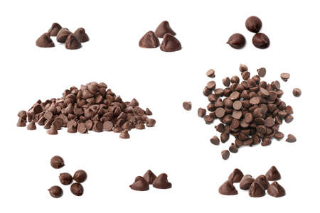 Set of delicious chocolate chips on white background