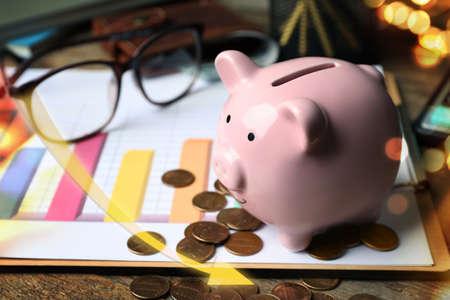 Piggy bank, money and chart. Coronavirus impact on global financial crisis