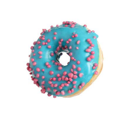 Sweet delicious glazed donut on white background