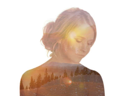 Double exposure of beautiful dreamy woman and mountain landscape. Concept of inner power Stock Photo