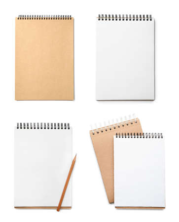 Set of different notebooks on white background, top view Zdjęcie Seryjne