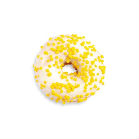 Sweet delicious glazed donut on white background, top view Фото со стока