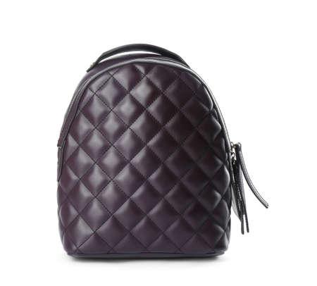 Stylish dark leather backpack isolated on white