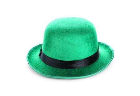 Green leprechaun hat isolated on white. St. Patricks Day celebration