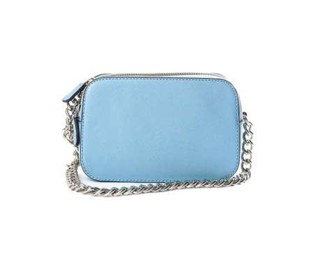 Stylish light blue leather bag isolated on white