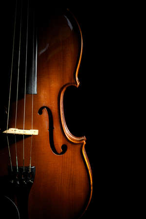 Beautiful classic wooden violin on black background