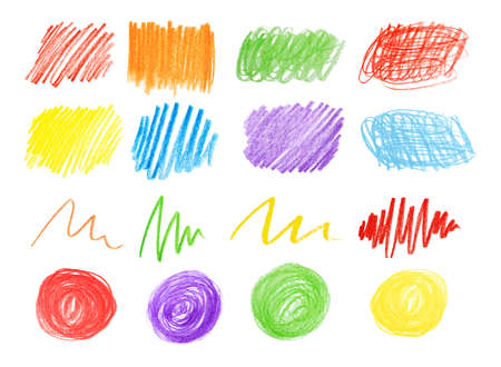 Collage of color drawn pencil scribbles on white background