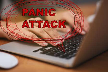 Woman working with laptop, closeup. Use information safely to avoid panic attack