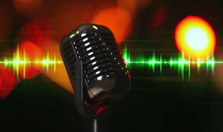 Microphone and radio wave on dark background, bokeh effect