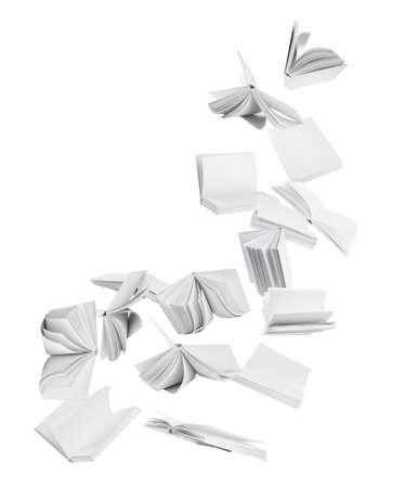 Many hardcover books flying on white background Imagens