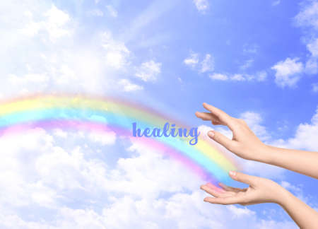 Woman and rainbow as source of healing energy on sunny day, closeup