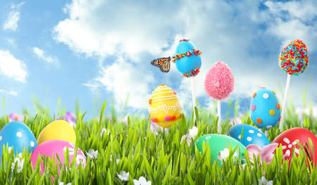 Bright Easter eggs and cake pops in green grass against blue sky. Space for text Archivio Fotografico