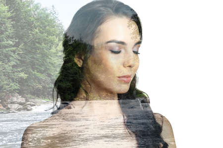 Picturesque landscape and beautiful woman on white background. Double exposure Imagens