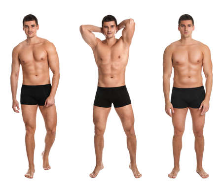 Collage of man with body on white background