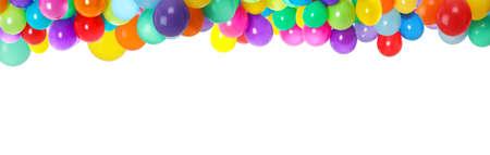 Set of different color balloons on white background. Banner design Foto de archivo