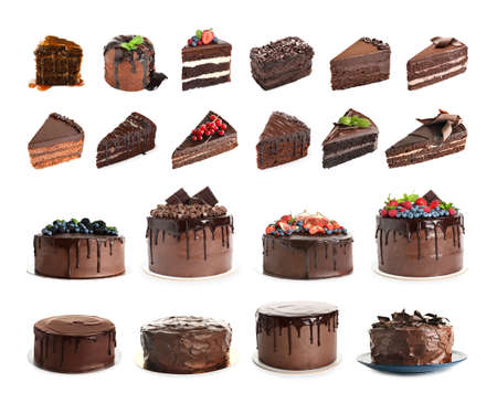 Set of different delicious cakes and pieces isolated on white Stock Photo