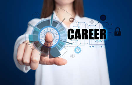 Career promotion concept. Woman touching icon on virtual screen