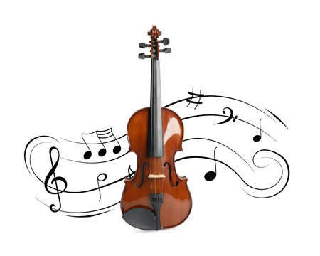 Classic violin and music notes on white background