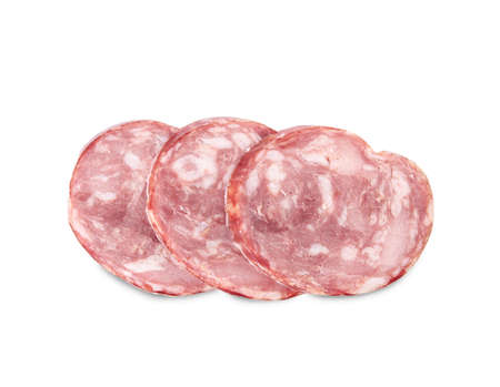 Slices of delicious smoked sausage isolated on white, top view