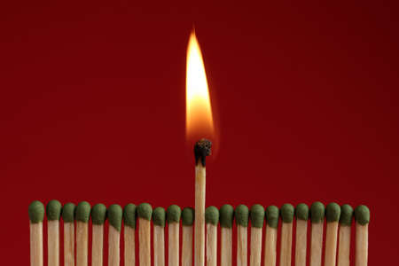 Burning match among unlit ones on red background, closeup
