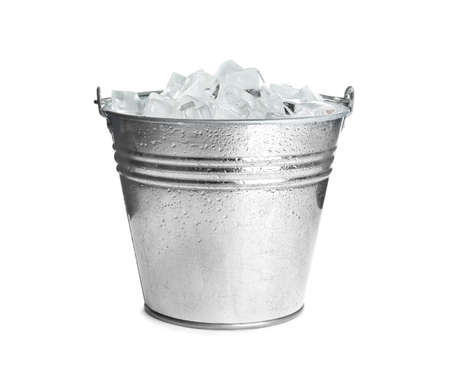 Metal bucket with ice cubes isolated on white