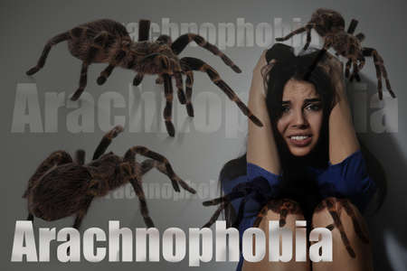 Arachnophobia concept. Double exposure of scared woman and spiders 版權商用圖片