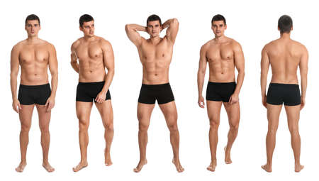 Collage of man with sexy body on white background. Banner design