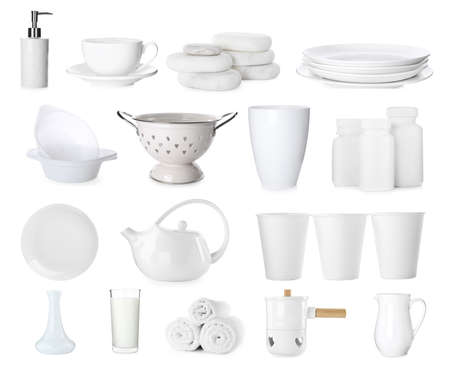Collage of different objects on white background
