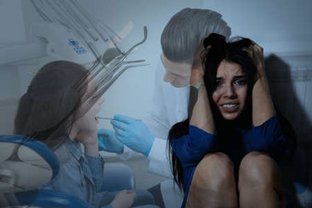 Odontophobia concept. Double exposure of scared woman and dentist appointment