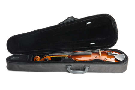 Beautiful classic violin in case isolated on white. Musical instrument