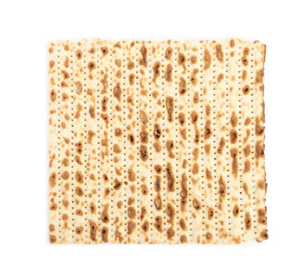 Passover matzo isolated on white, top view. Pesach celebration