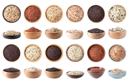 Set with different types of rice in bowls on white background Stock Photo