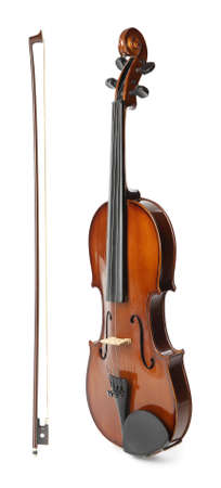 Beautiful classic violin and bow on white background Stock Photo