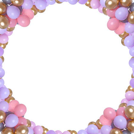 Frame made of different color balloons on white background. Space for design